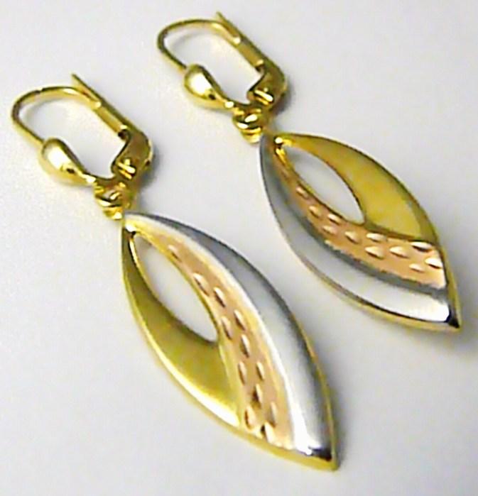 Dámské zlaté visací náušnice v kombinace zlata 585/1,77gr P432 (1430922)