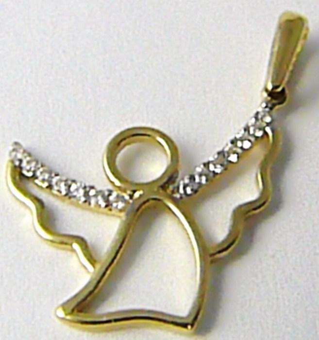 Zlatý andělíček - zlatý přívěsek anděl se zirkony 585/0,89 gr H453