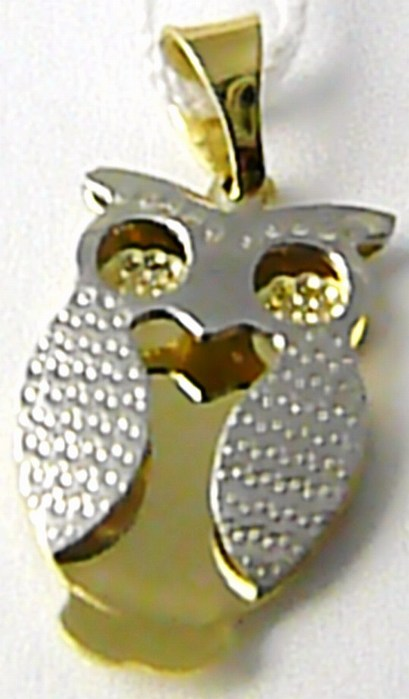 Zlatý přívěsek - zlatá sovička pro štěstí v kombinaci zlata 585/1,16gr H455 (POŠTOVNÉ ZDARMA!!!)