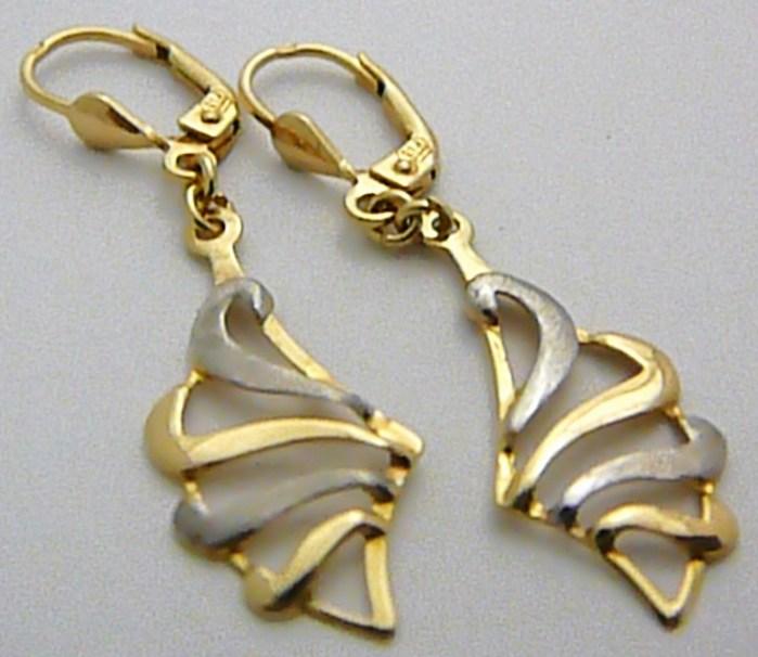 Dámské luxusní zlaté visací náušnice z bílého a žlutého zlata 585/2gr P436 (1131556)