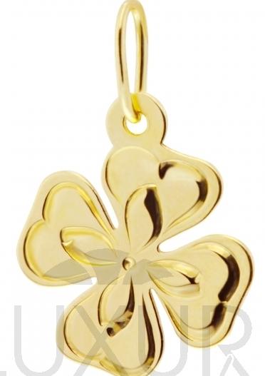 Zlatý přívěsek - čtyřlístek pro štěstí s gravírováním 585/0,45gr P441 (4420100)