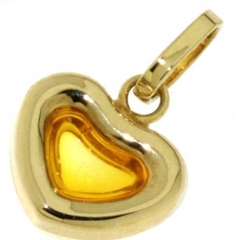 Zlatý přívěsek - zlaté srdíčko se žlutým citrínem 585/0,40gr P442