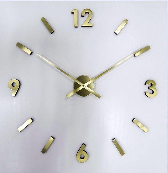 Zlaté nalepovací moderní nástěnné hodiny JVD HW53.7 na zeď