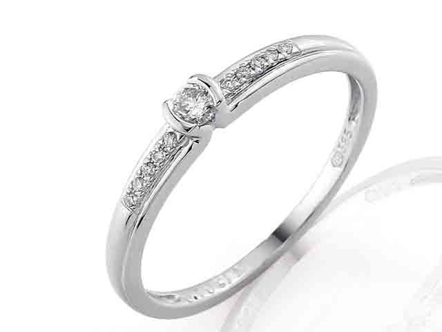 Zásnubní zlatý diamantový prsten posetý diamanty 11ks vel.49 P446 SKLADEM POŠTOVNÉ ZDARMA!
