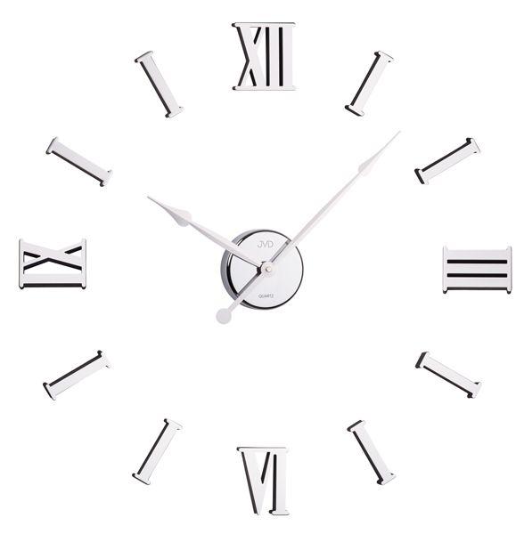 Stříbrné moderní nalepovací hodiny JVD HB15 s římskými číslicemi na zeď