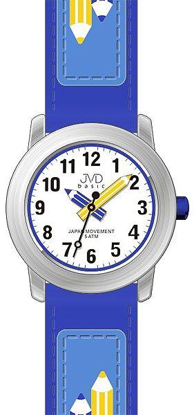Dětské modré čitelné hodinky JVD basic J7109.3 s barevnými pastelkami