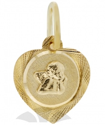 Zlatý přívěsek, medailon anděl, žluté zlato s andělíčkem 2320199 P462