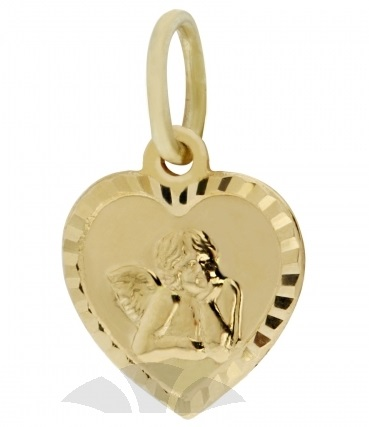 Zlatý přívěsek, medailon anděl, žluté zlato s andělíčkem 2320122 P560