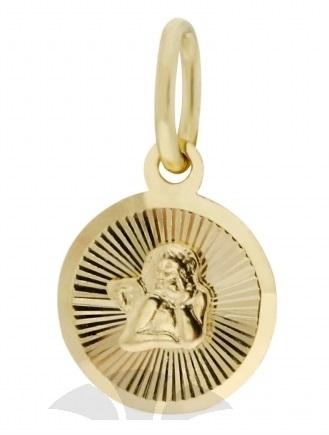 Zlatý přívěsek, medailon anděl, žluté zlato s andělíčkem 2320217 P516