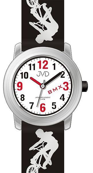 27b71b0cf83 Dětské chlapecké hodinky JVD J7158.1 s BMX kolem pro malé závodníky 5ATM