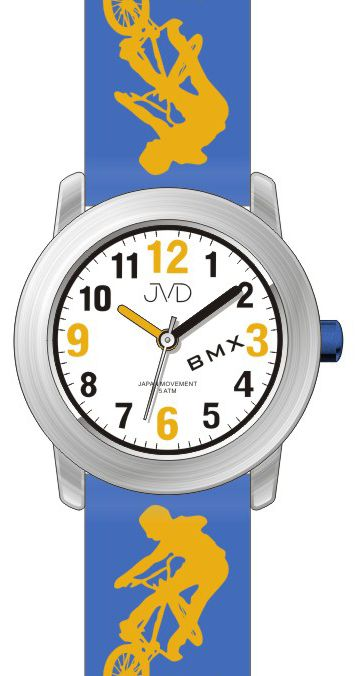 Dětské chlapecké hodinky JVD J7158.3 s BMX kolem pro malé závodníky 5ATM