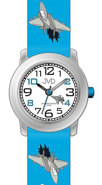 Dětské náramkové hodinky JVD J7162.1 s leteckou technikou (letadlo) 5ATM