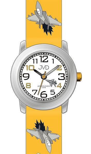 Dětské žluté hodinky JVD J7162.2 s leteckou technikou (letadlo) 5ATM