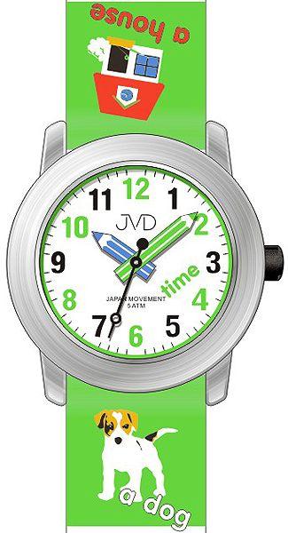 Dětské hodinky JVD J7163.3 s pejskem a malým tahákem angličtiny pro malé školáky