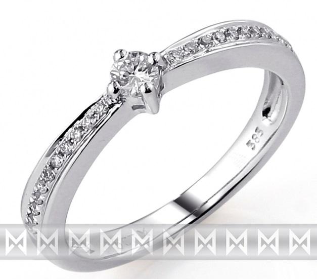 Zásnubní prsten s diamantem, bílé zlato brilianty 3860436-0-51-99 585/2,3 gr (3860436-0-51-99)