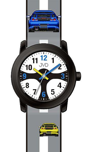 Chlapecké čitelné dětské hodinky JVD J7156.2 se závodním volatem pro závodníky