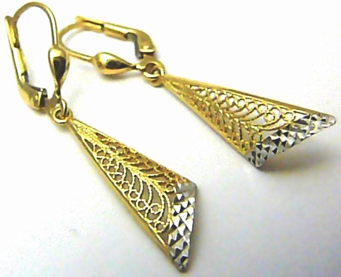 Dámské luxusní zlaté visací náušnice z bílého a žlutého zlata 4cm 585/2,10g H488