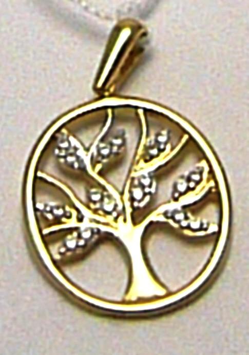 Zlatý přívěsek - strom života posetý zirkony 18 ks v oválku 585/1,44gr H491 (POŠTOVNÉ ZDARMA!!!!)