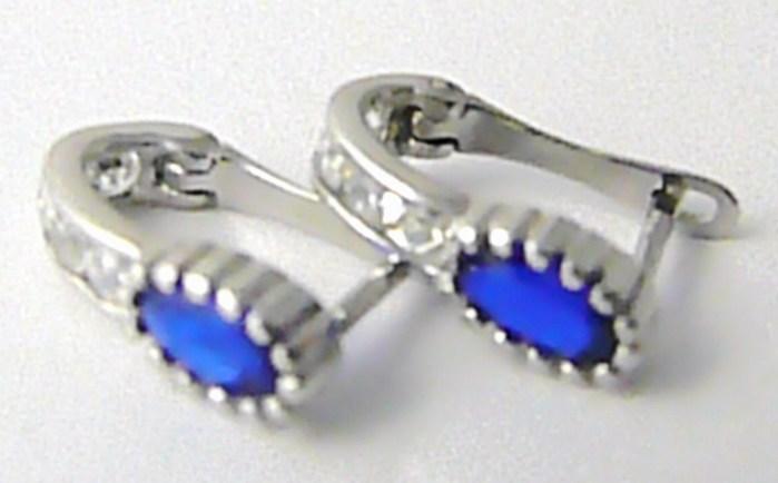 Dámské náušnice z bílého zlata se zirkony a modrými safíry 585/1,25 gr P455