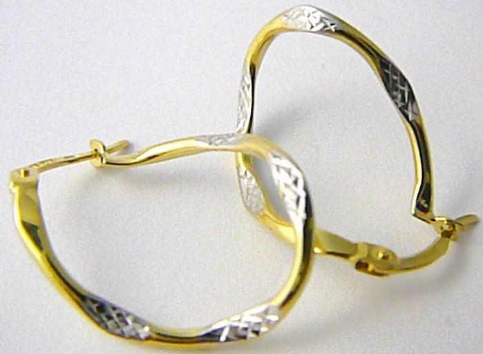 Luxusní mohutné velké zlaté kruhy s gravírováním 585/1,30gr P458