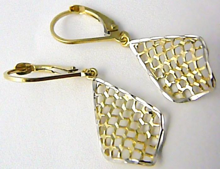 Luxusní visací dámské náušnice z bílého a žlutého zlata 3,5cm 585/1,66gr H500