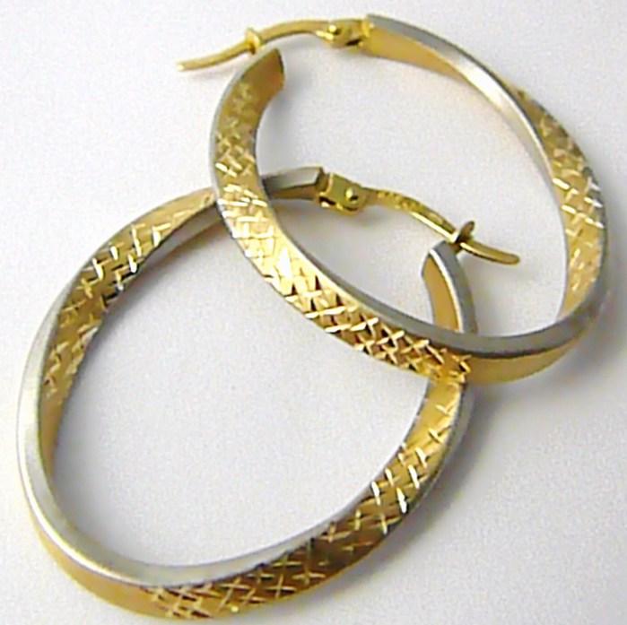 Mohutné velké zlaté kruhy z dvojího zlata (matné) s gravírováním 585/2,08gr H501