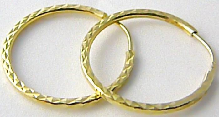 Dámské levné zlaté kruhy s gravírováním 20mm 585/1,24gr H507