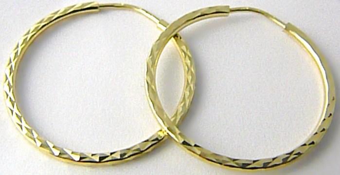 Dámské levné zlaté kruhy s gravírováním 24mm 585/1,48gr H508