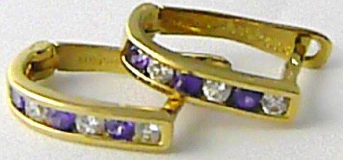 Dámské velké zlaté půlkruhy s fialovmi ametysty a zirkony 585/1,79 gr H512