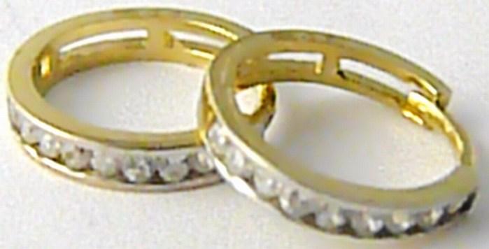 Zlaté kruhy - dámské dívčí náušnice se zirkony 585/1,01 gr H515