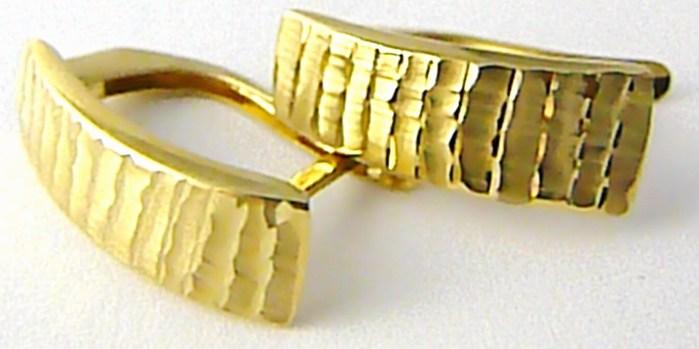Dámské mohutné levné zlaté náušnice s gravírováním 585/1,75gr H520