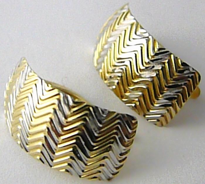 Obrovské mohutné zlaté náušnice z bílého a žlutého zlata 585/2,55gr H524