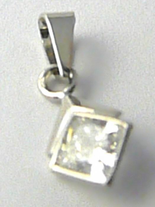 Zlatý přívěsek s velkým čtvercovým zirkonem z bílého zlata 585/0,64 gr 346045010 (346045010)