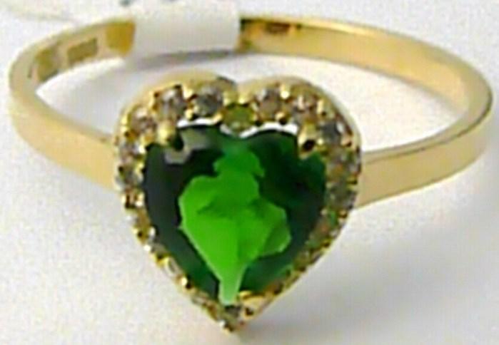 Velký zásnubní prsten s mohutným zeleným smaragdem SRDCE 585/1,63gr vel. 55 H536 POŠTOVNÉ ZDA