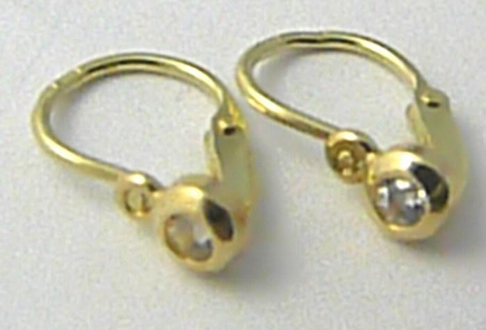 Levné dětské zlaté náušnice ze žlutého zlata se zirkony 585/0,62 gr P461