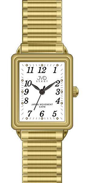 Elegantní hranaté ocelové hodinky JVD steel J4072.2 - unisex s pérovacím páskem