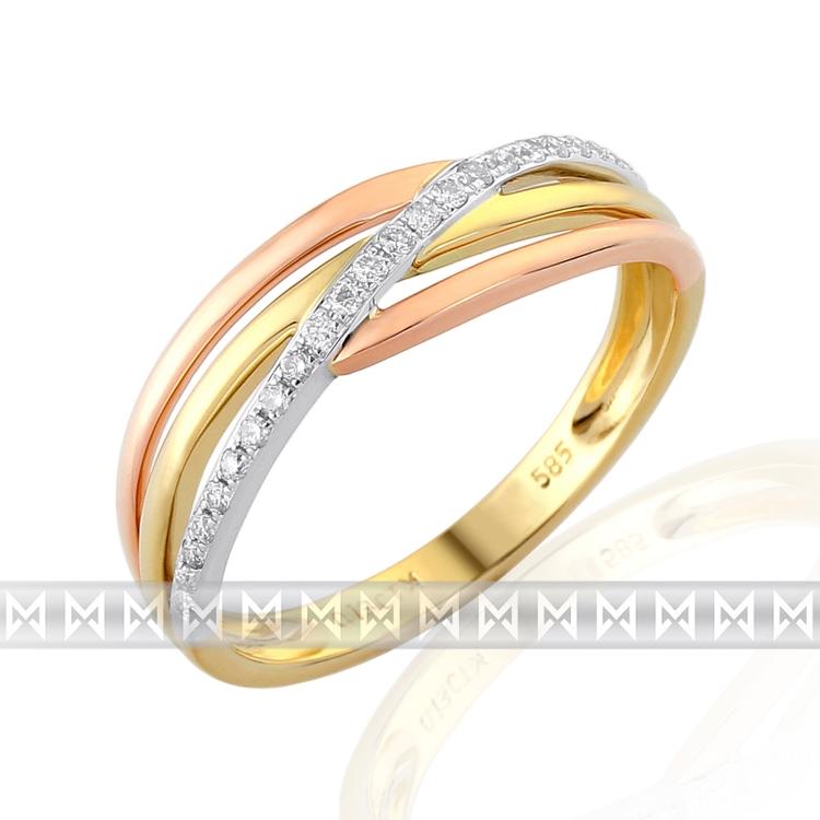 Luxusní prsten s diamantem, kombinace bílé, žluté, červené AU brilianty 3811441 POŠTOVNÉ ZDARMA! (3811441-8-57-99)