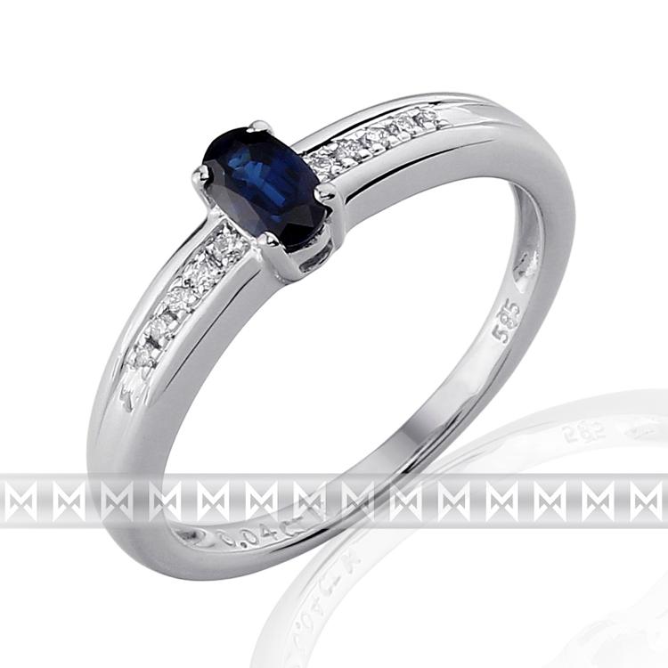Luxusní prsten s diamanty a modrým přírodním safírem 3861143 585/2,6 gr POŠTOVNÉ ZDARMA!
