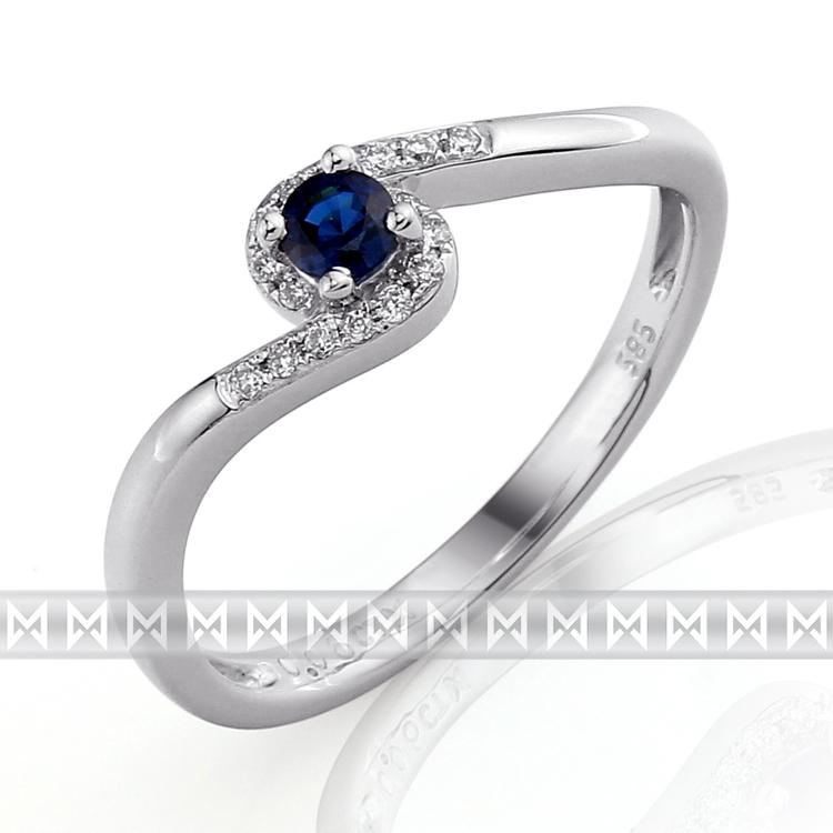 Luxusní prsten s diamanty a modrým přírodním safírem 3861128 585/1,85 gr POŠTOVNÉ ZDARMA!