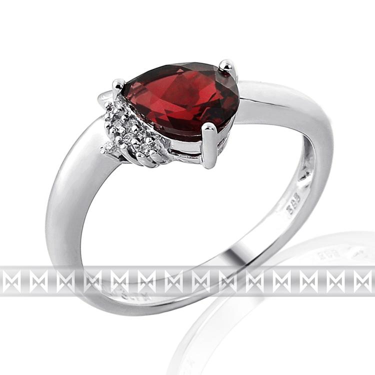 Luxusní prsten s diamanty a rudým přrodním granátem 3860516 585/2,60 gr POŠTOVNÉ ZDARMA!
