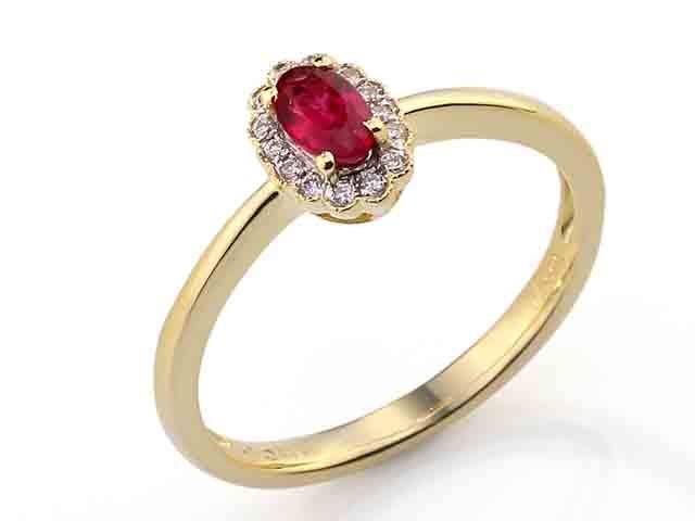 Luxusní prsten s diamanty a červeným přírodním rubínem 3811087 585/2,40 gr POŠTOVNÉ ZDARMA! (3811087-5-54-94)
