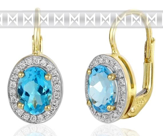 Diamantové náušnice s brilianty a velkými modrými blue topazy 3830140 POŠTOVNÉ ZDARMA! (3830140-5-0-93)