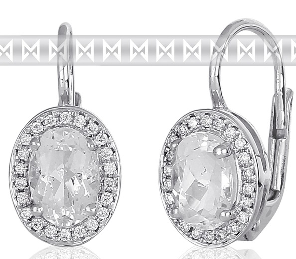Diamantové náušnice s brilianty a velkými bílými vzánými blue topazy 3880137 POŠTOVNÉ ZDARMA! (3880137-0-0-82)