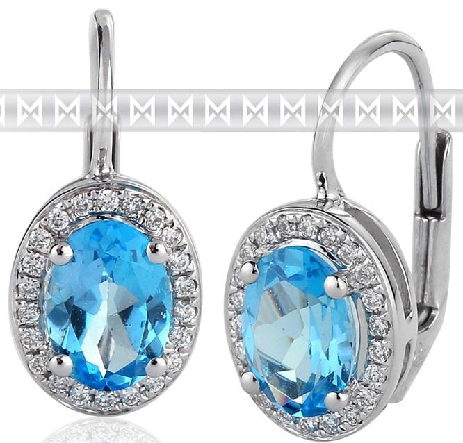 Diamantové náušnice s brilianty a velkými modrými blue topazy bílé zlato 3880138 POŠTOVNÉ ZDARMA! (3880138-0-0-93)