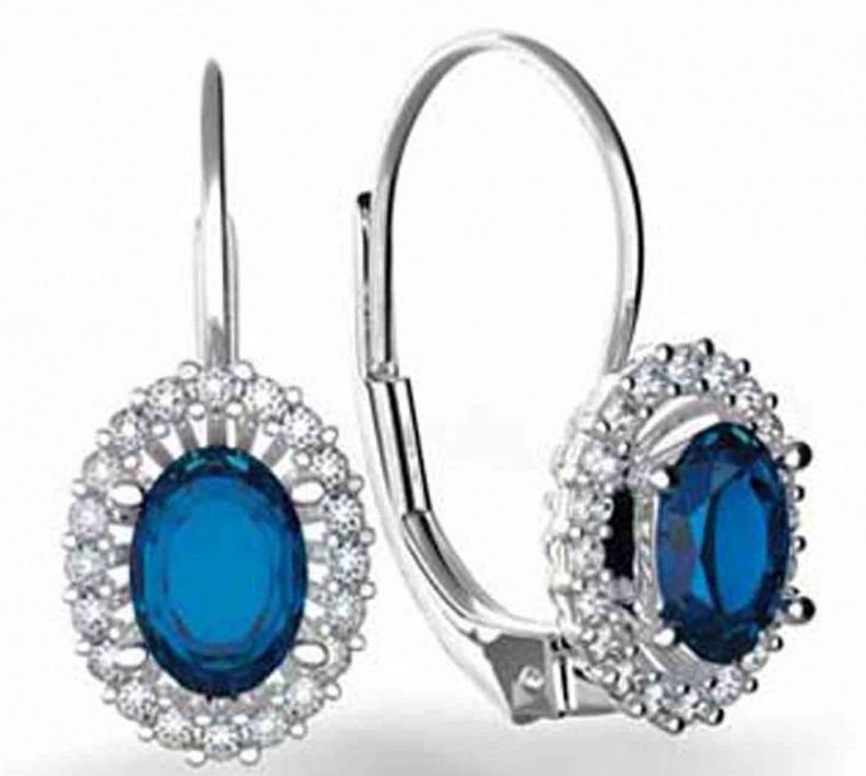 Diamantové náušnice s pravými diamanty a přírodními modrými safíry 3880120 POŠTOVNÉ ZDARMA! (3880120-0-0-92)