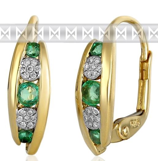Luxusní zlaté náušnice s diamanty a přírodními pravými smaragdy 3831045 POŠTOVNÉ ZDARMA! (3831045-5-0-96)