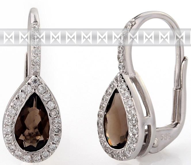 Diamantové zlaté náušnice s přírodními kameny (záhněda - smoky quartz) 3880806) POŠTOVNÉ ZDARMA! (3880806-0-0-88)
