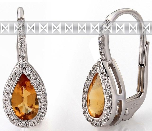 Diamantové zlaté náušnice s přírodními kameny (citríny a brilianty) 3880804 POŠTOVNÉ ZDARMA! (3880804-0-0-80)