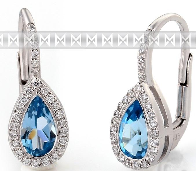 Diamantové zlaté náušnice s přírodními modrými topazy BLUE TOPAZ 3880798POŠTOVNÉ ZDARMA! (3880798-0-0-93)