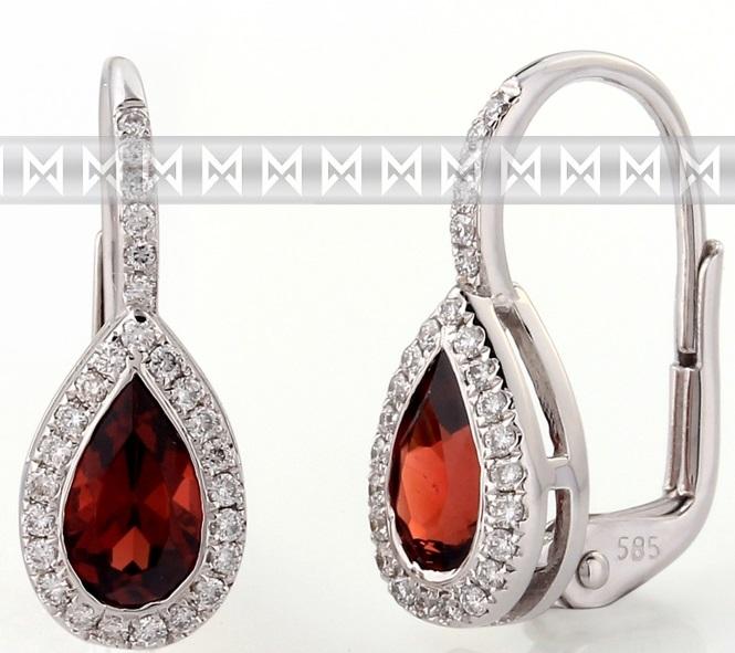Diamantové zlaté náušnice s přírodními kameny (sytě rudý pravý granát) 3880802 POŠTOVNÉ ZDARMA! (3880802-0-0-81)